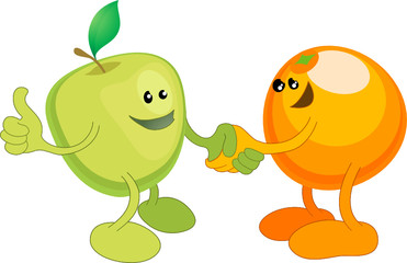 Apple and Orange happily shaking hands