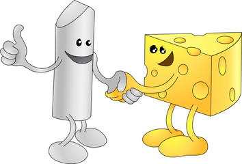 Chalk and Cheese happily shaking hands