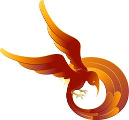 A swooping fiery bird