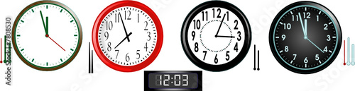 Vector illustration of four analog and one digital clocks
