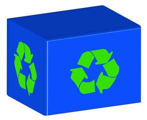 blue recycling bin with green arrow logo