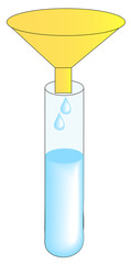 test tube and funnel with water drips