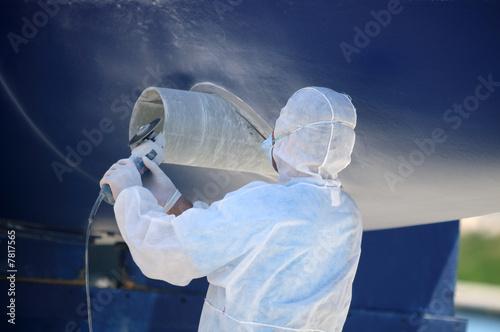 Leinwanddruck Bild Boat in maintenance