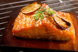 Salmon grilled on cedar plank poster