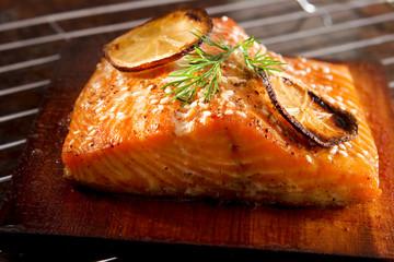 Salmon grilled on cedar plank