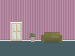 interior with glazed door sofa and plant pot
