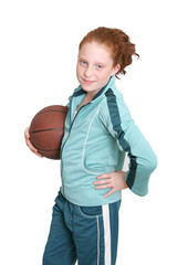 redhead child and basketball