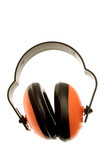 Ear protectors isolated over white poster