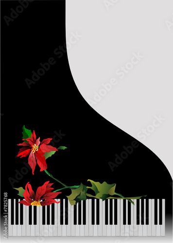 Template greeting card with piano and flower