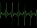 Green modulated sine wave on black copyspace