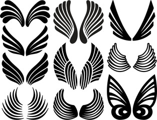 Ten Sets of Black Stylized Angel Wings