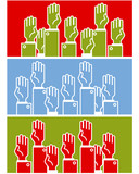 Voting group of people - symbolic human's hands