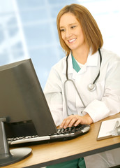 Busy Doctor Woman Typing