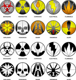 10 vector hazard icons - beveled glass and black and white poster