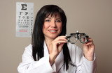 Eye doctor with trial frames poster