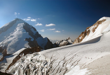 Mountaineering group on a glacier