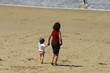 femme et son enfant qui marchent sur la plage