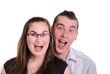 couple shouting - in delighted surprise