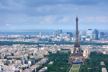 Eiffel tower and la Defense aerial