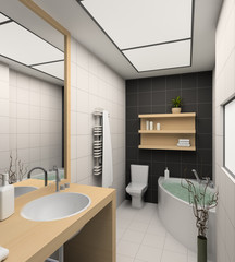 3D render modern interior of bathroom