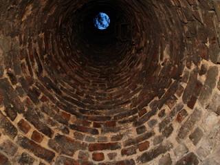 Inside old chimney