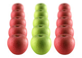 Rows of red and green apples sprinkled with water poster