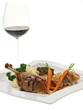 truthahnbraten mit kartoffelpüree,grünkohl und ein glas rotwein