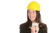businesswoman with earnings poster