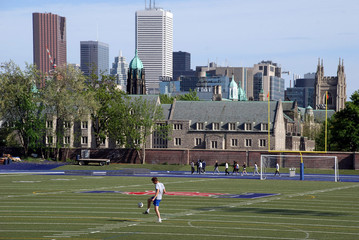 university soccer practice with Toronto city skyline
