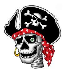 Pirate skull in hat