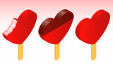 Ice lolly - heart shape - vector - isometric poster