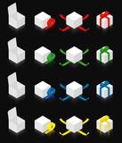 Isometric gift box  - black background poster