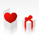 Heart in isometric box - vector poster