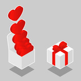 Isometric hearts in box - vector poster