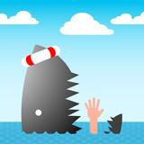 shark swallows drowning hand - vector poster