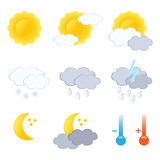 Weather forecast icon set. Vector-Illustration. poster