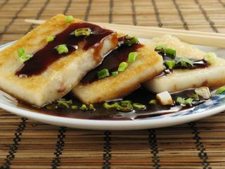 Taro Cakes with Sauce