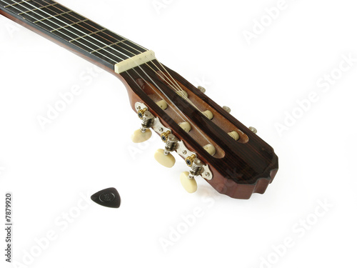 acoustic classic guitar neck isolated on white background