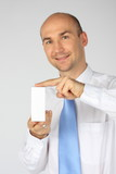 Businessman selling a box poster