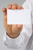 Businessman showing businesscard poster