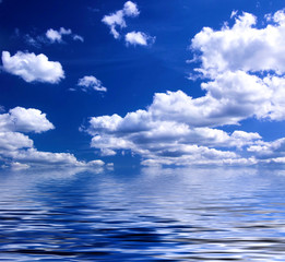 blue sky reflecting in the water