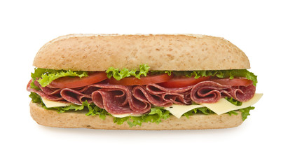 Large salami & cheese submarine sandwich