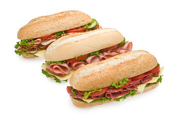 Three delicious sandwiches isolated on white