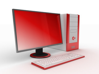 3d computer red