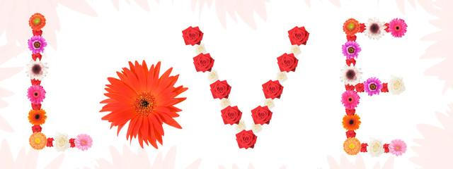 love written with flowers