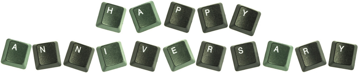 "Keyboard keys spelling out the words ""Happy Aniversary"""