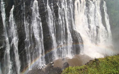 Victoria falls with colorful rainbow