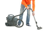 Man with vacuum poster