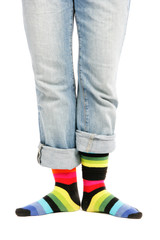 Woman legs with colorful stocks