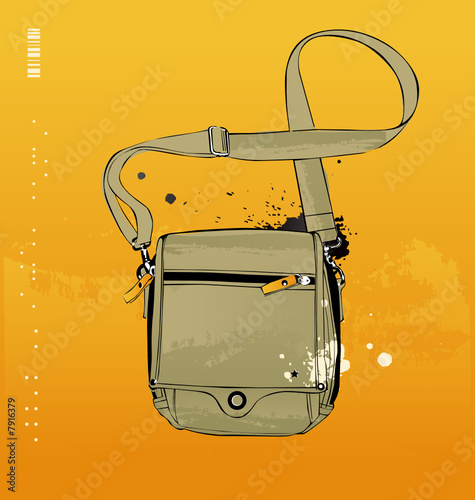 Travel bag, isolated on yellow background
